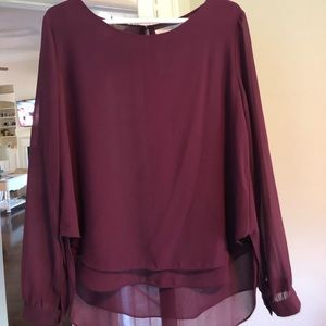 Lush Blouse Shirt Maroon Color size large